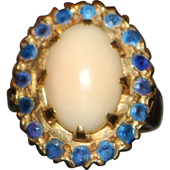 14K Angel Skin Coral and Sapphire Ring - 1960's