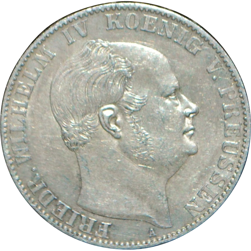 Large German Silver One Thaler Coin - 1859 - A - UNC