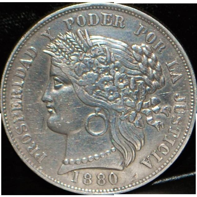 Peru Provisional Govt 5 Pesetas Coin - 1880 - BF