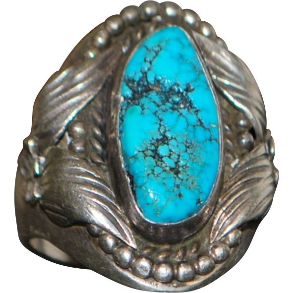 Large Man's Sterling and Turquoise Ring - 1970's