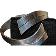 Heavy Sterling Silver Modern By-pass Bangle - 1980's