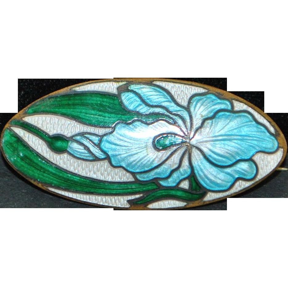 Art Nouveau Floral Blue Enamel Brooch - 1905