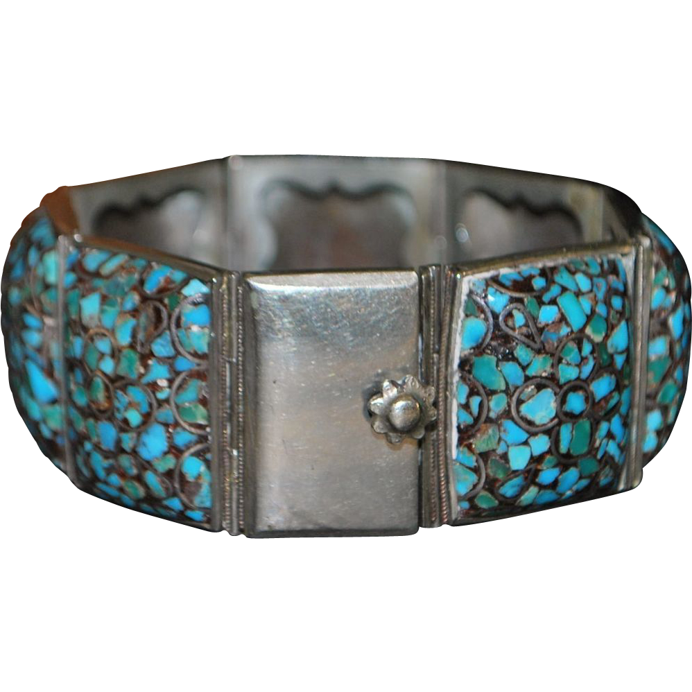 Inlaid Persian Turquoise and Silver Bracelet - Hassan