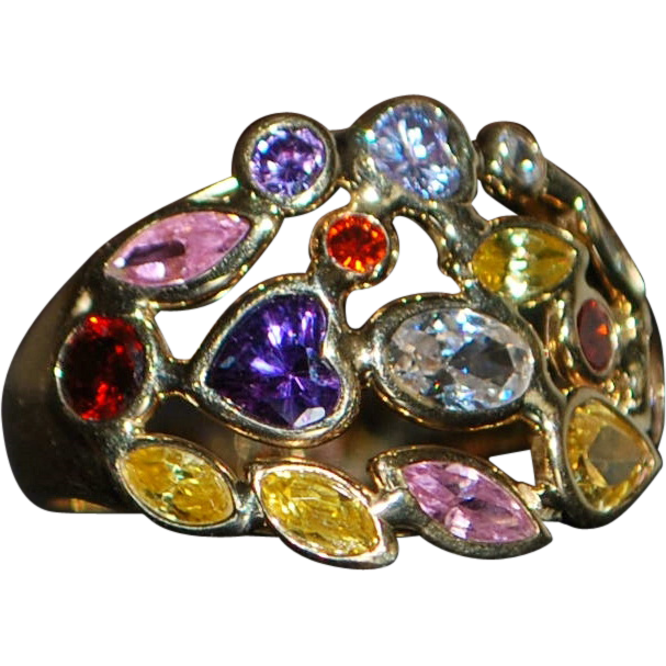 14K Italian Multi-Colored Stone Ring - 1980's