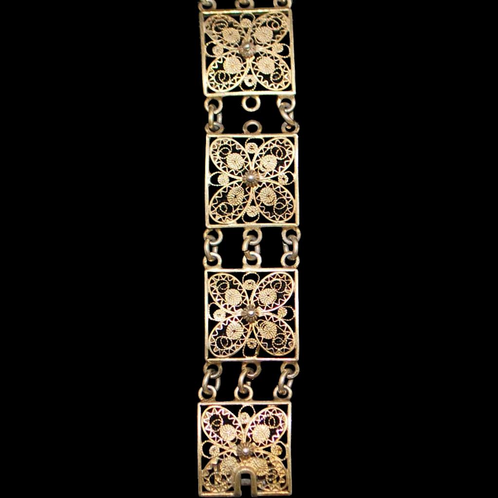 800 Silver Filigree Bracelet - 1920's