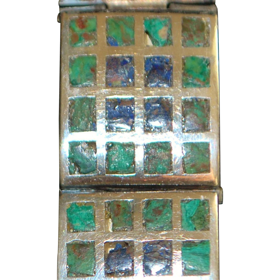 Mexican Sterling Lapis & Turquoise Mosaic Bracelet