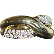14K Diamond Pave and Gold By-pass Ring - 1980's