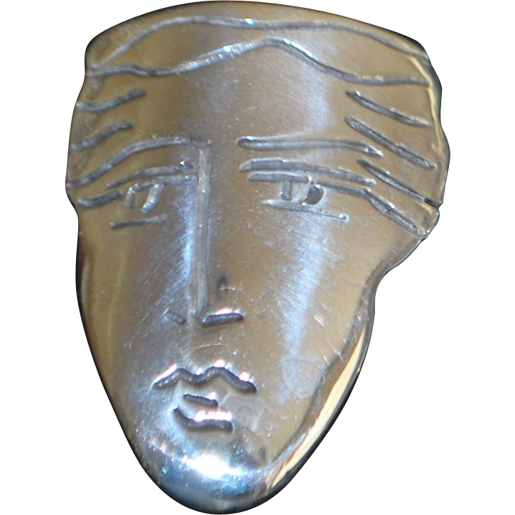 Large Sterling Silver Mask Earrings - 1980's