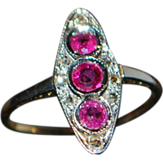 14k / Platinum Ruby and Diamond Ring - 1920's