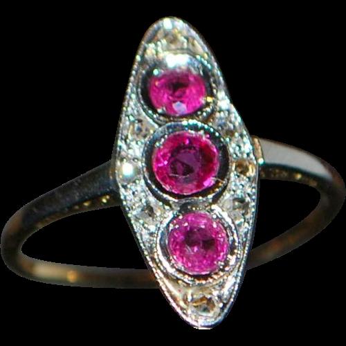 14k / Platinum Ruby and Diamond Ring - 1920's