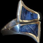 Mexican 950 Silver Lapis Clamper Bracelet - 1980's