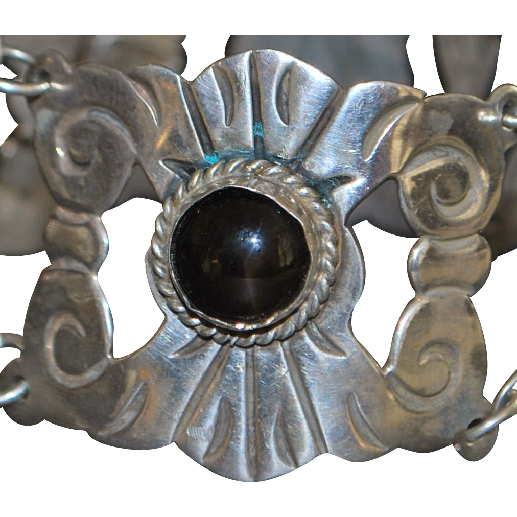 Mexican Large Black Onyx and Silver Bracelet - 1950's