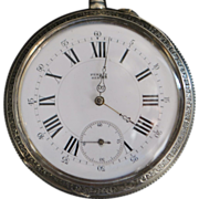Large Swiss OF 800 Silver Pocket Watch - 1890