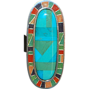 Large Sterling Turquoise and Inlaid Stone Ring