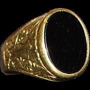 18K Italian Art Nouveau Onyx Signet Ring - 1910