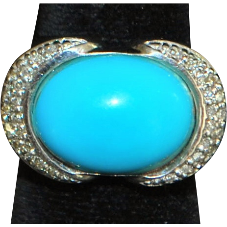 14K w/g Large Persian Turquoise and Diamond Ring- 1980's