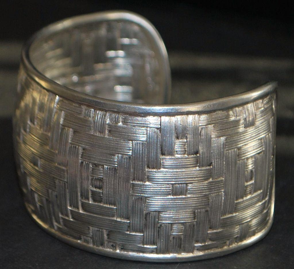 Large Sterling Silver Basket Weave Cuff Bracelet 1980 S