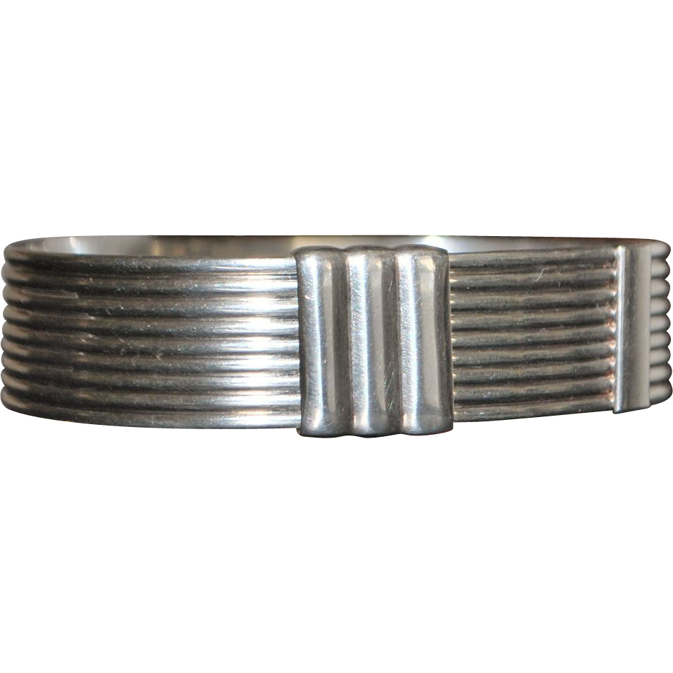 Italian Sterling Silver Buckle Style Bangle Bracelet - Florence - 1980