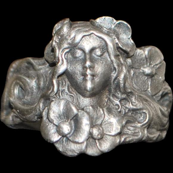 Art Nouveau Sterling Silver Figural Ring - 1905