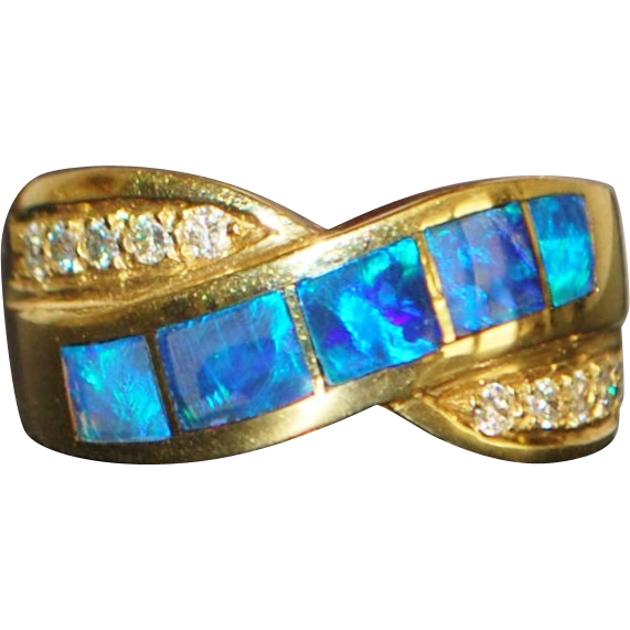 14K Heavy Black Opal and Diamond Ring - 1980's