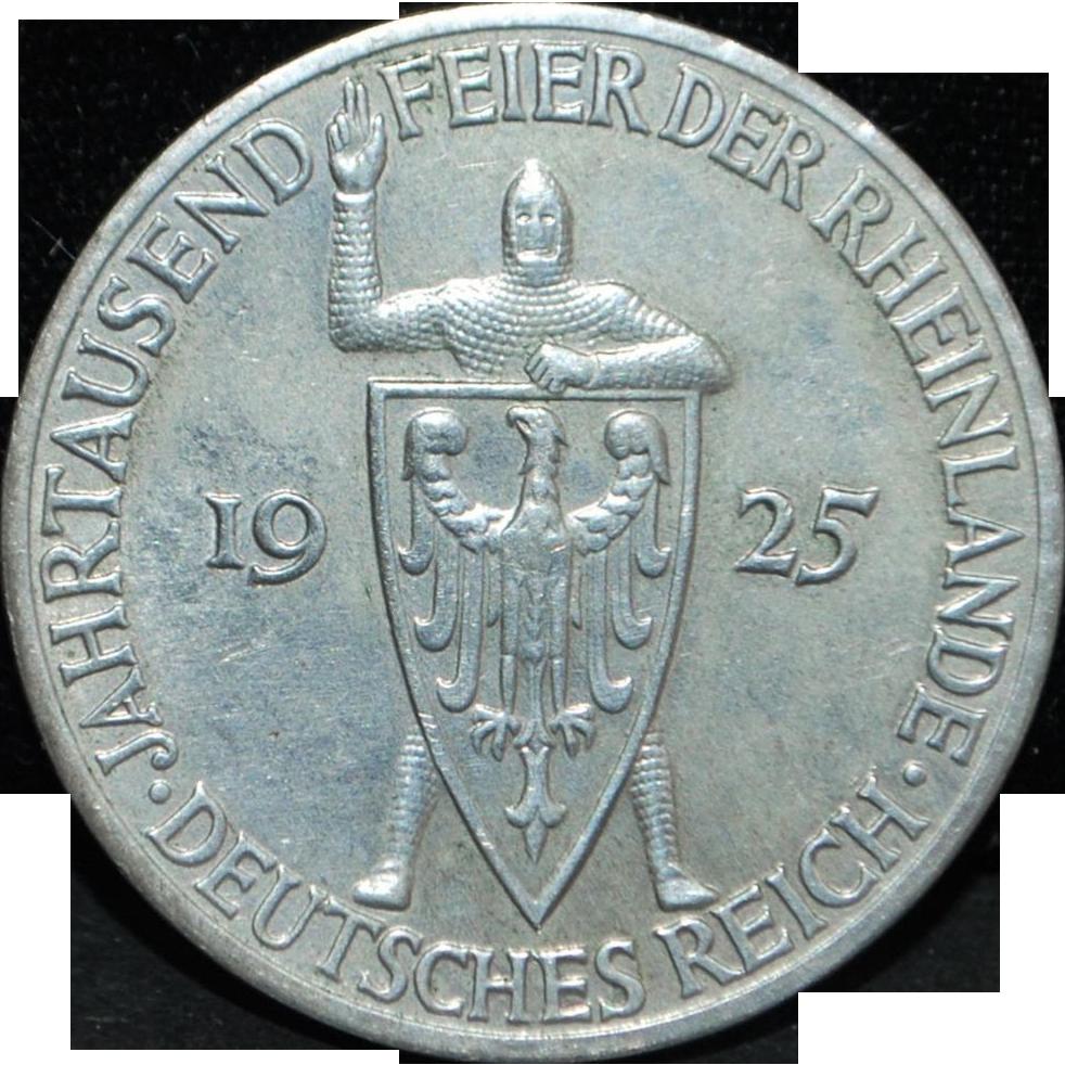 German Weimar Republic 5 Reichsmark Coin - 1925 - A