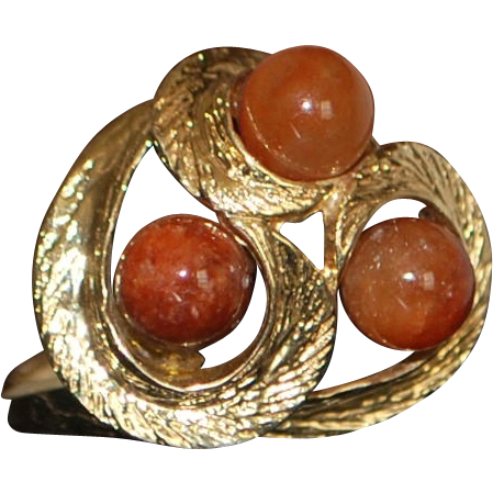 14k Red Jade Swirl Dome Ring - 1970's