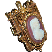14K r/g Victorian Stone Cameo Brooch - 1870's