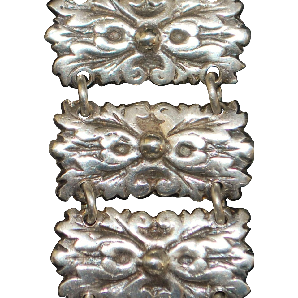 Mexican Silver Link Bracelet - 1920's