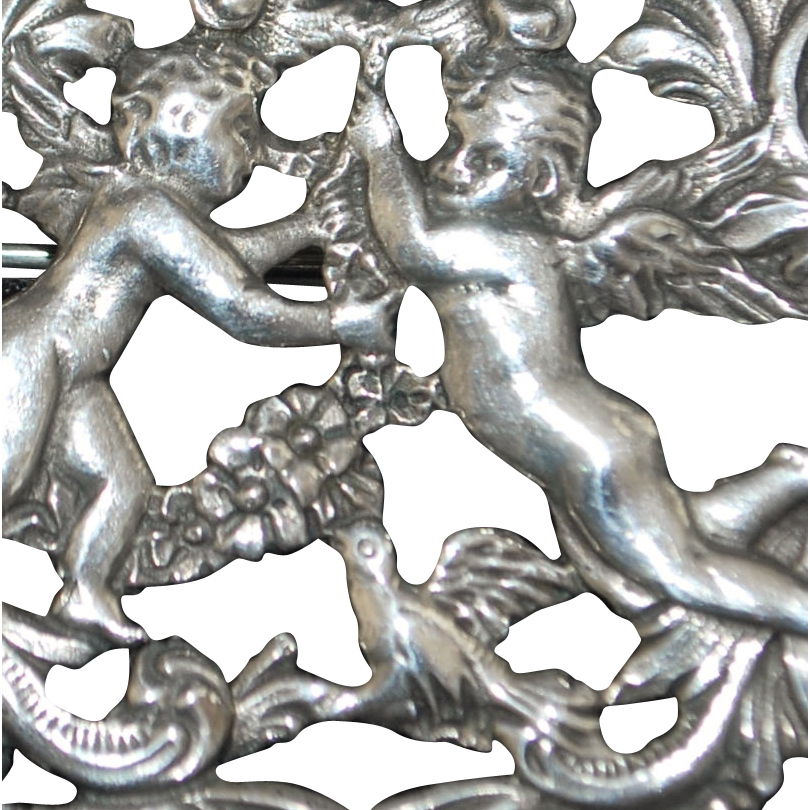 Large Art Nouveau Sterling Cupid Brooch - 1890's
