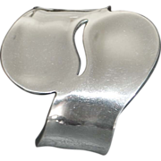 Modernist Large Sterling Silver Cuff Bracelet - 1980's