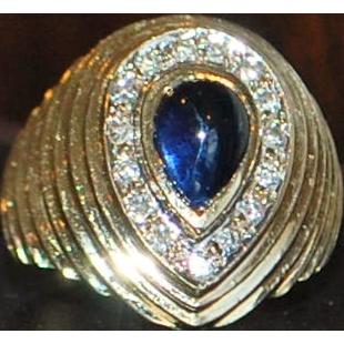 14k Sapphire and Diamond Beehive Ring - 1960's