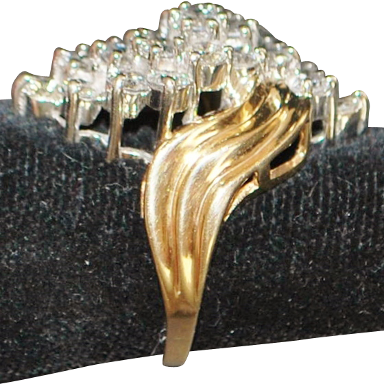 14k diamond 2ct waterfall cocktail ring 1970 39 s from for Waterfall design ring