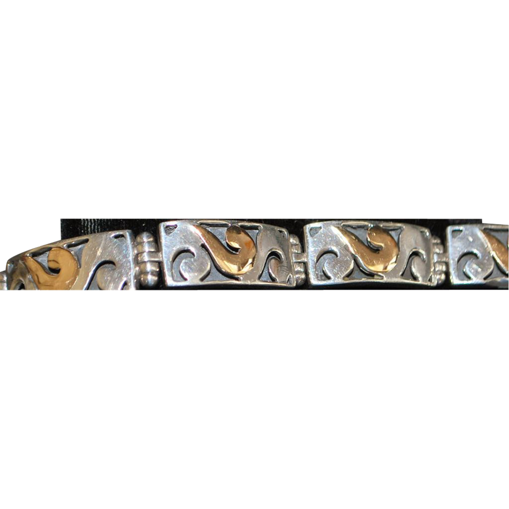 18K and Sterling Silver Open Pierced Link Bracelet - 1980's