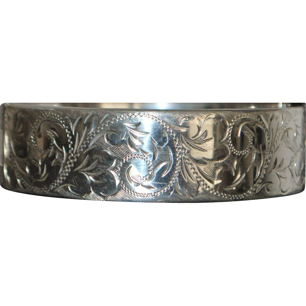 English Engraved Sterling Silver Bangle Bracelet - 1976