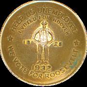 1932 FDR Campaign Gild Brass Depression Coin