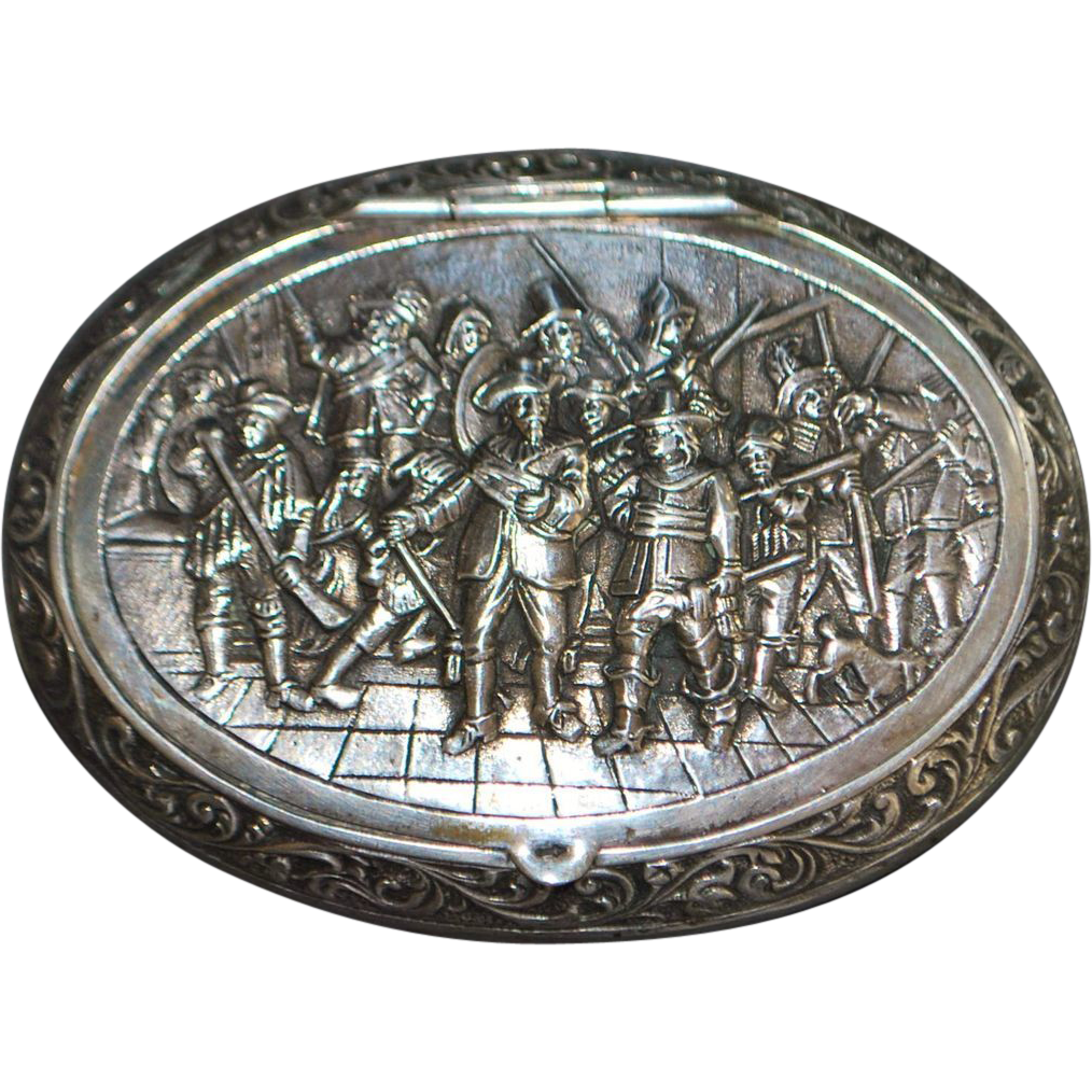 Dutch 835 Silver Fancy Snuff Box - Rembrandt Painting