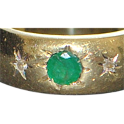 14K Emerald and Diamond Gold Band Ring - 1910