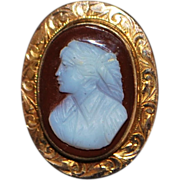 14K Rose Gold Victorian Carved Cameo Pendant - 1880's