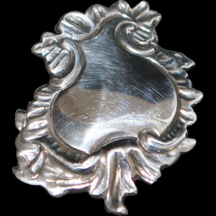 Art Nouveau Sterling Lapel Watch Clip - 1900