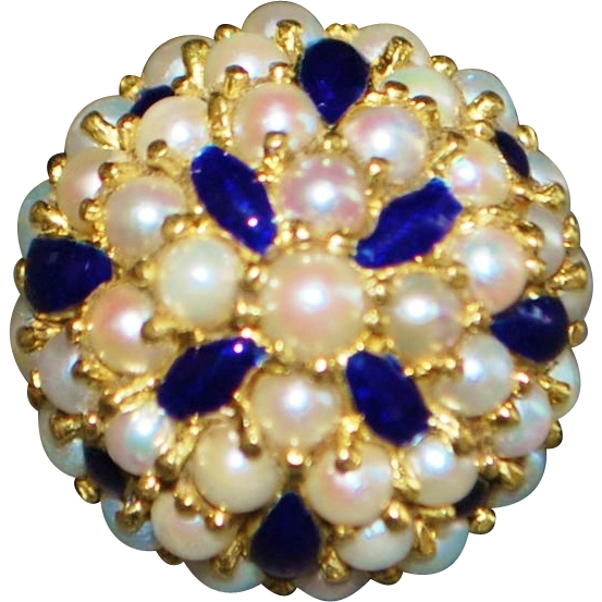 18K Italian Blue Enamel and Pearl Dome Cocktail Ring - 1980's