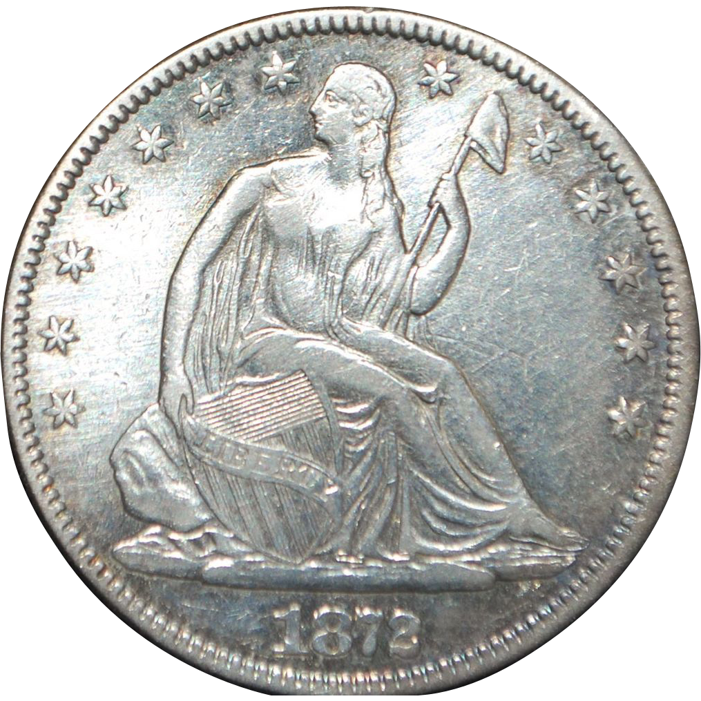 US Liberty Silver Half Dollar Coin - 1872 - XF