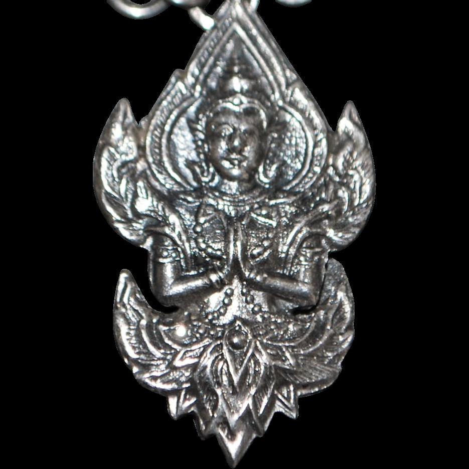 Siam Sterling Silver Deity Charm Bracelet - 1950