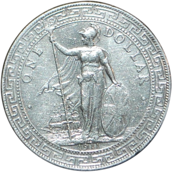 Great Britain Silver Trade Dollar Coin - 1911 - B - UNC