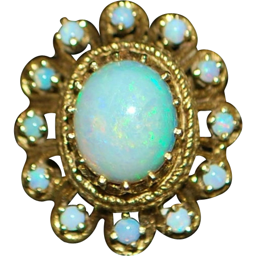 14K Opal Cocktail Ring - 1960's