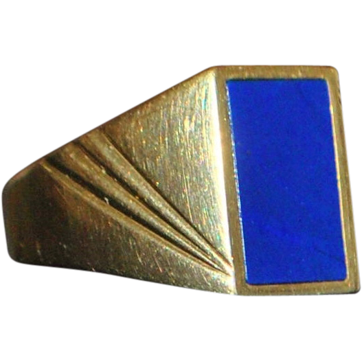 14K Man's Lapis Gold Signet Ring - 1980's
