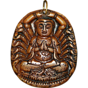Chinese Hand Carved Soapstone Buddha Pendant -1900's