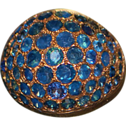 14K r/g Blue Sapphire Pave Dome Ring - 1960's