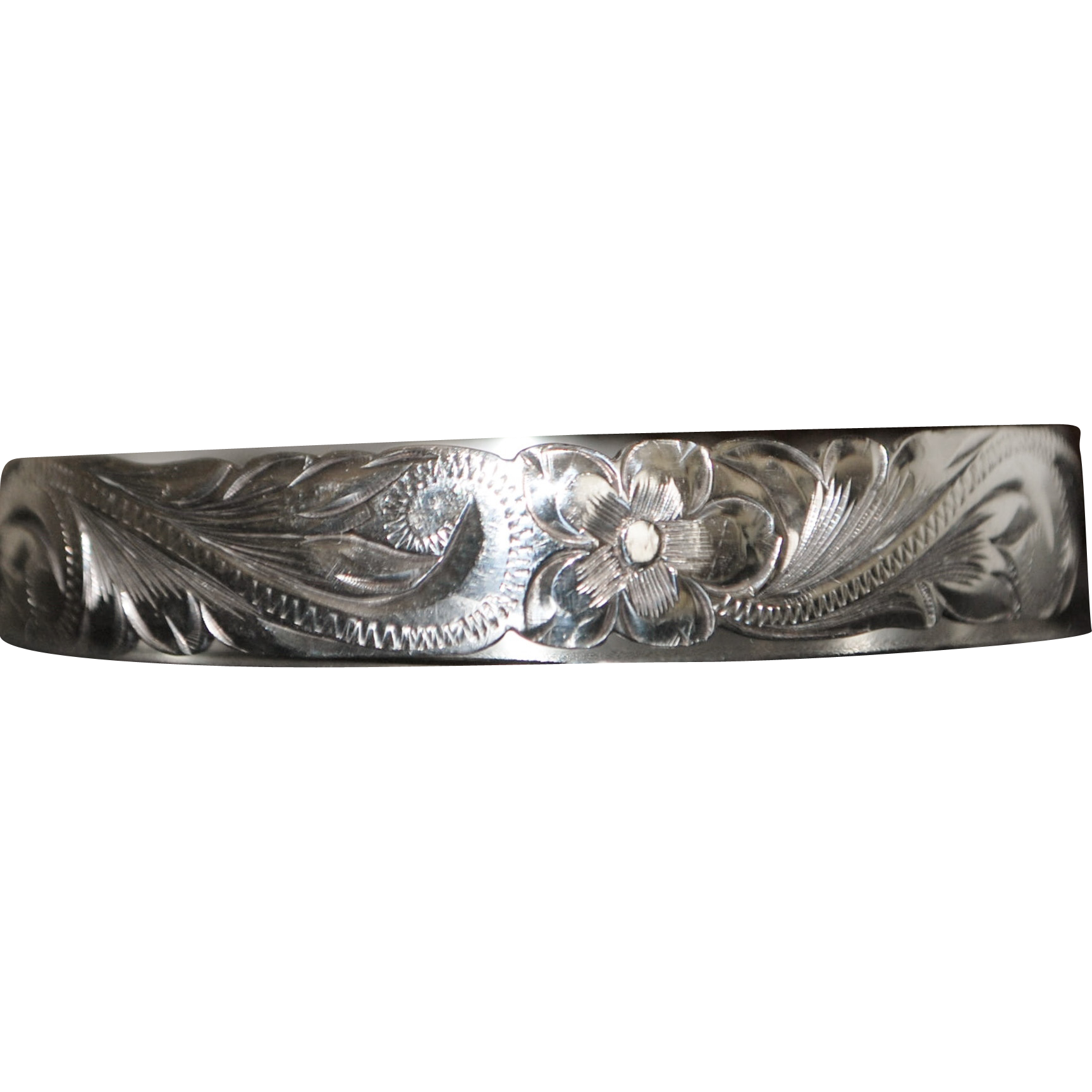 Large Victorian Sterling Silver Bangle - 1890's