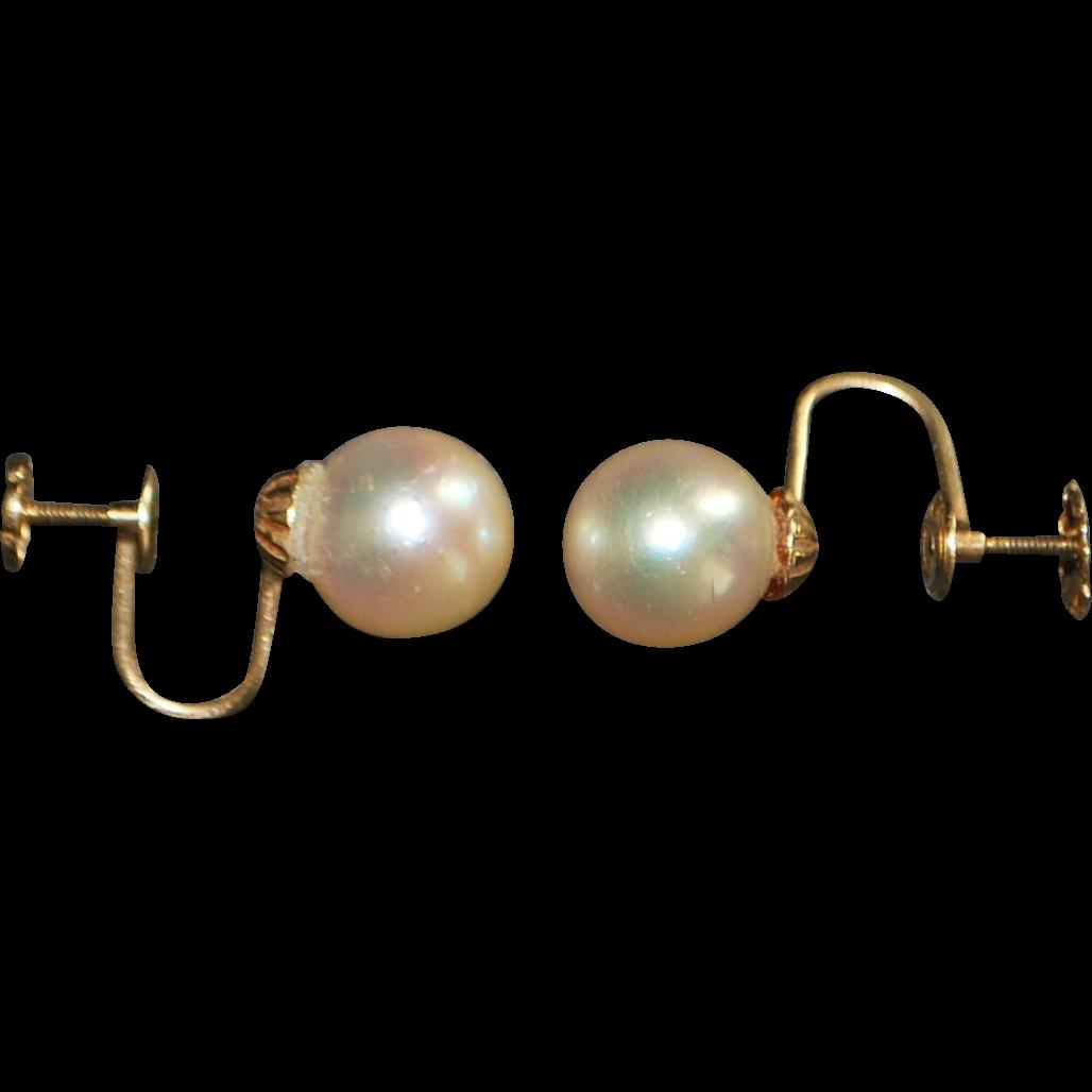 Pair of 14K 9 mm Cultured Pearl Earrings - 1920's