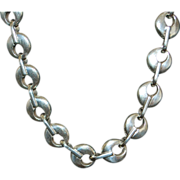 Heavy 900 Silver Egyptian Necklace - 1980's